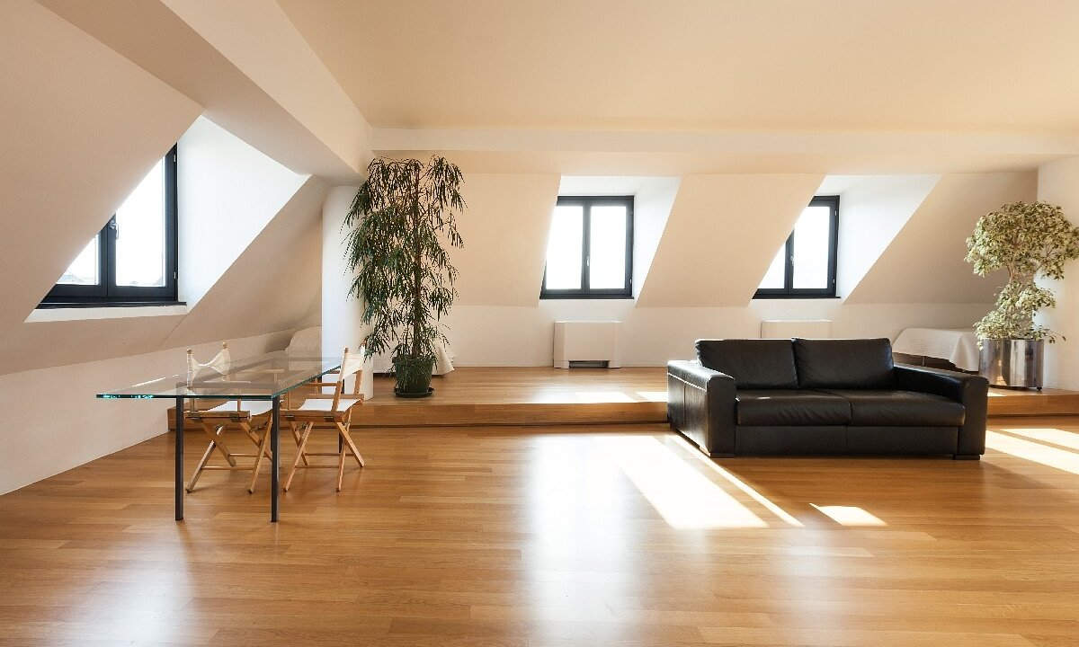 Interior, beautiful loft, hardwood floor, living room